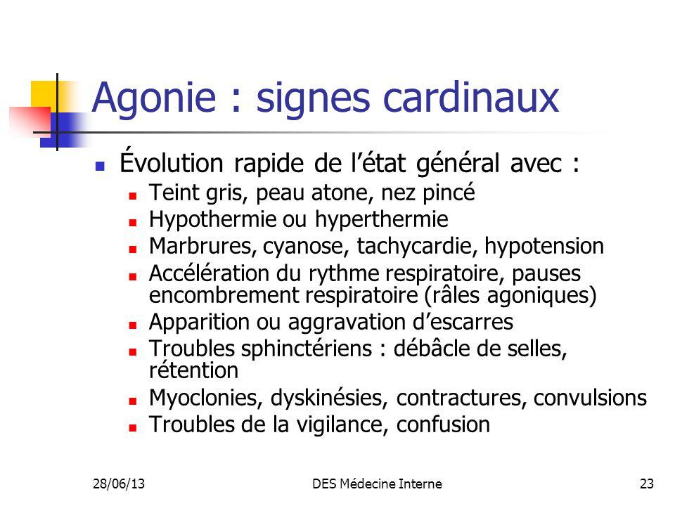 Agonie : signes cardinaux