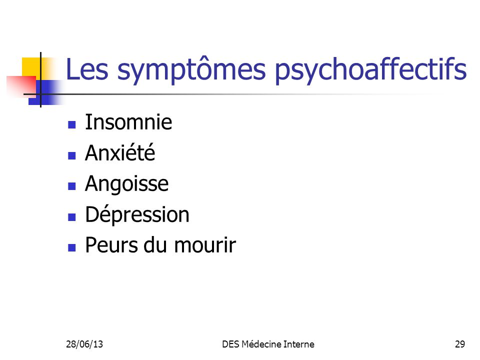 Les symptômes psychoaffectifs