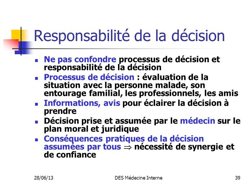 Responsabilité de la décision