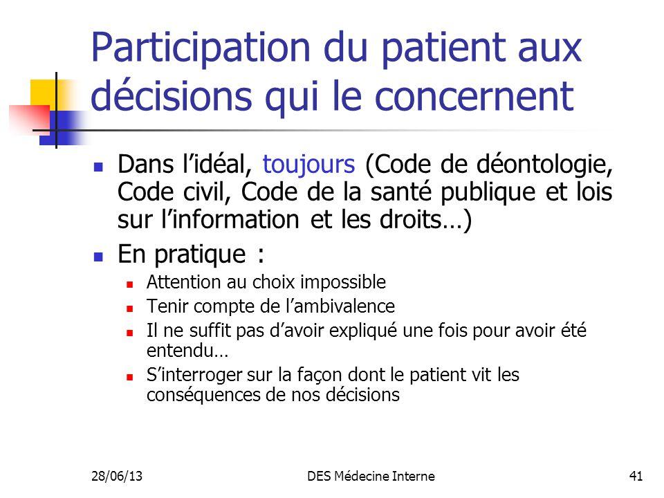 Participation du patient aux décisions qui le concernent