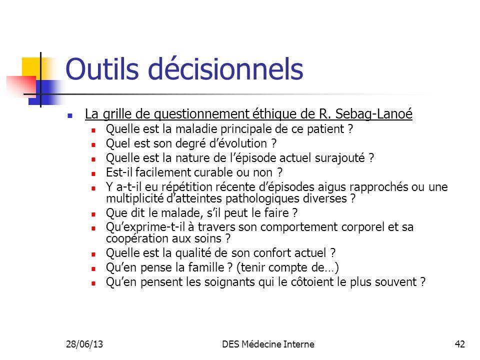Outils décisionnels La grille de questionnement éthique de R. Sebag-Lanoé. Quelle est la maladie principale de ce patient