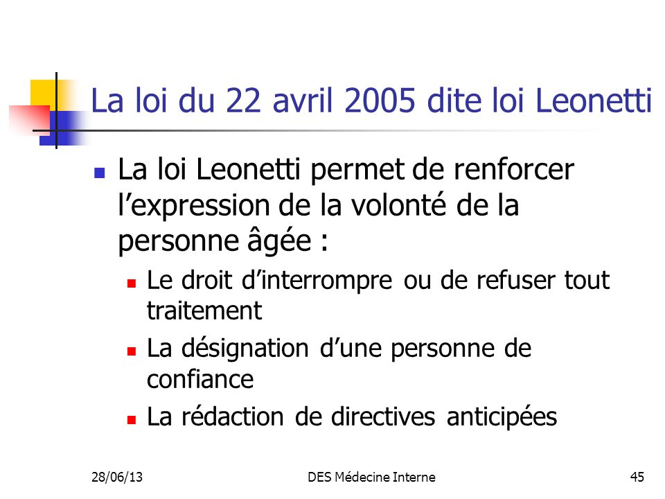 La loi du 22 avril 2005 dite loi Leonetti