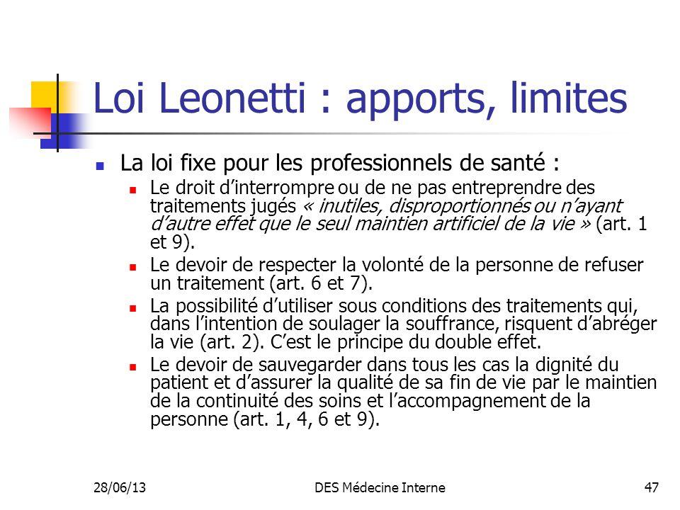 Loi Leonetti : apports, limites