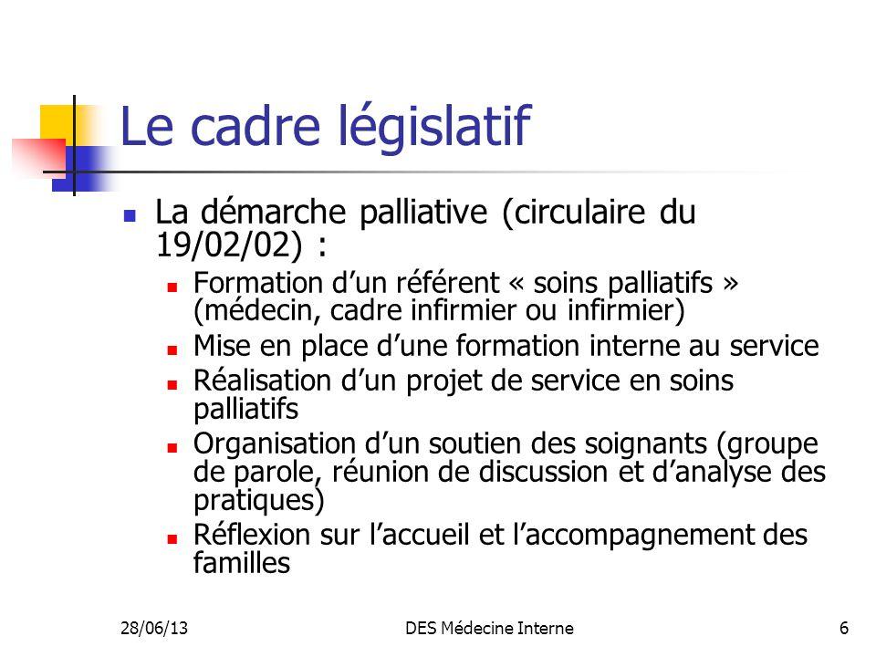 Le cadre législatif La démarche palliative (circulaire du 19/02/02) :