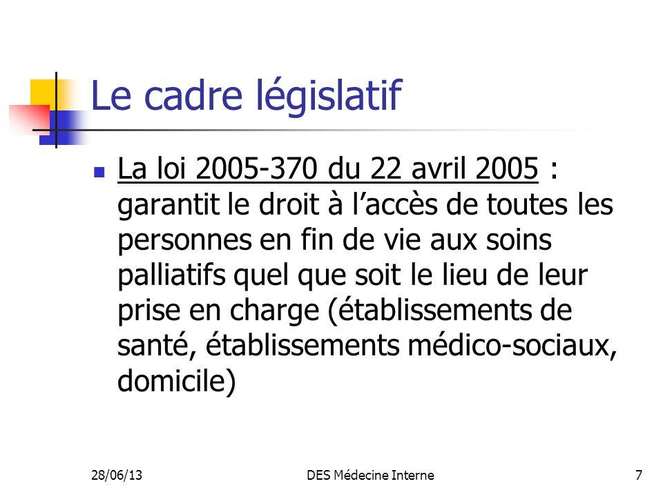 Le cadre législatif
