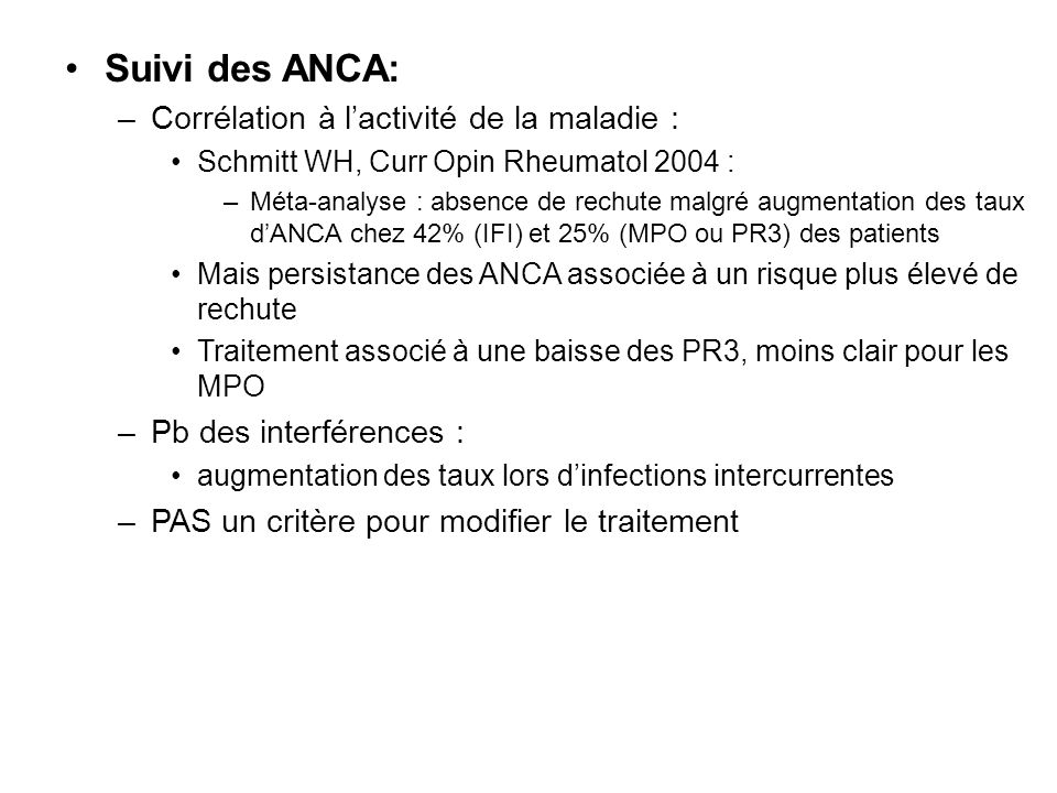 Suivi des ANCA: Corrélation à l'activité de la maladie :