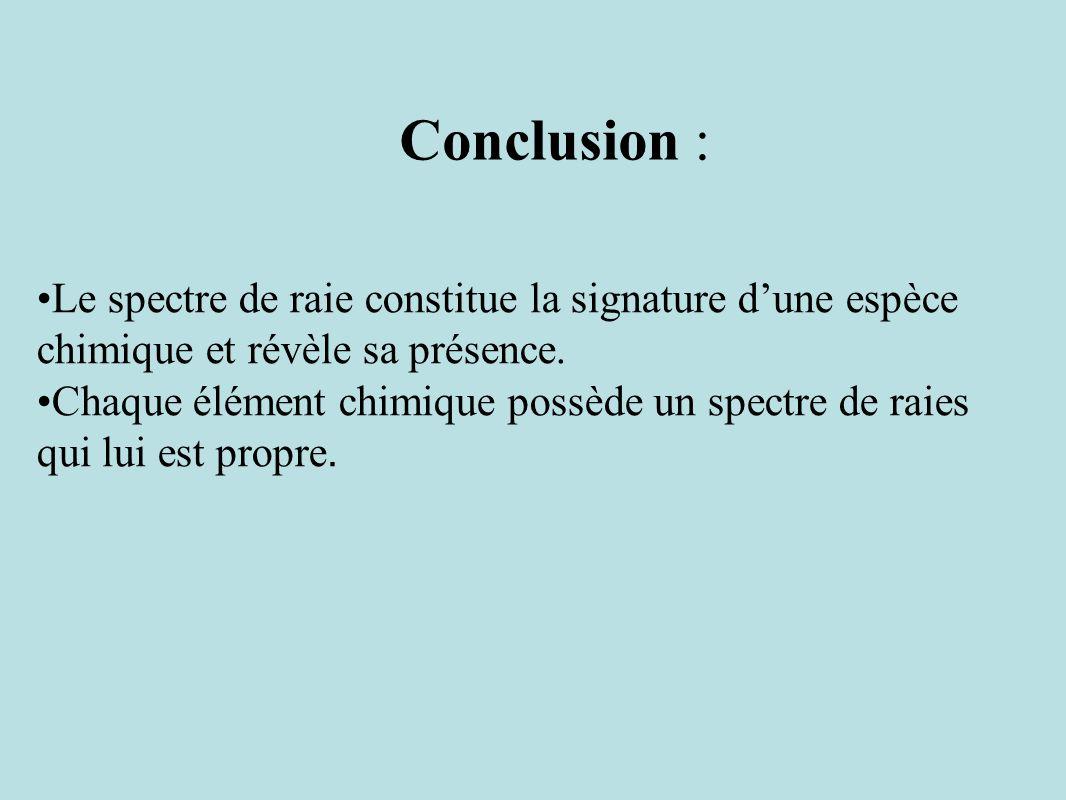 Conclusion : Le spectre de raie constitue la signature d'une espèce chimique et révèle sa présence.
