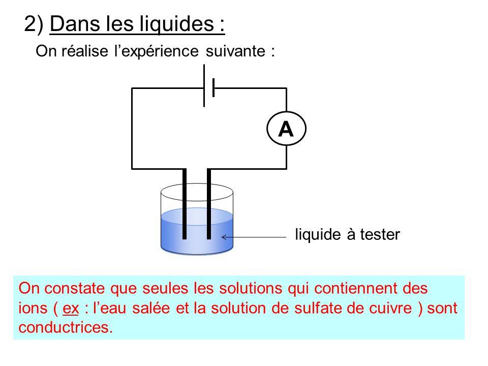 2) Dans les liquides : A On réalise l'expérience suivante :