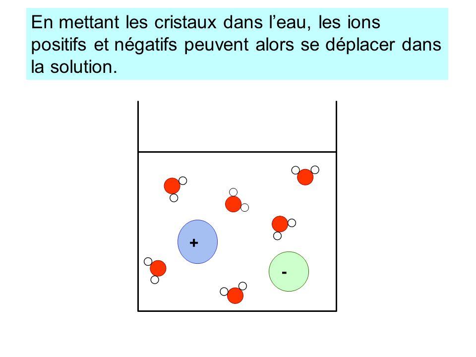 En mettant les cristaux dans l'eau, les ions positifs et négatifs peuvent alors se déplacer dans la solution.