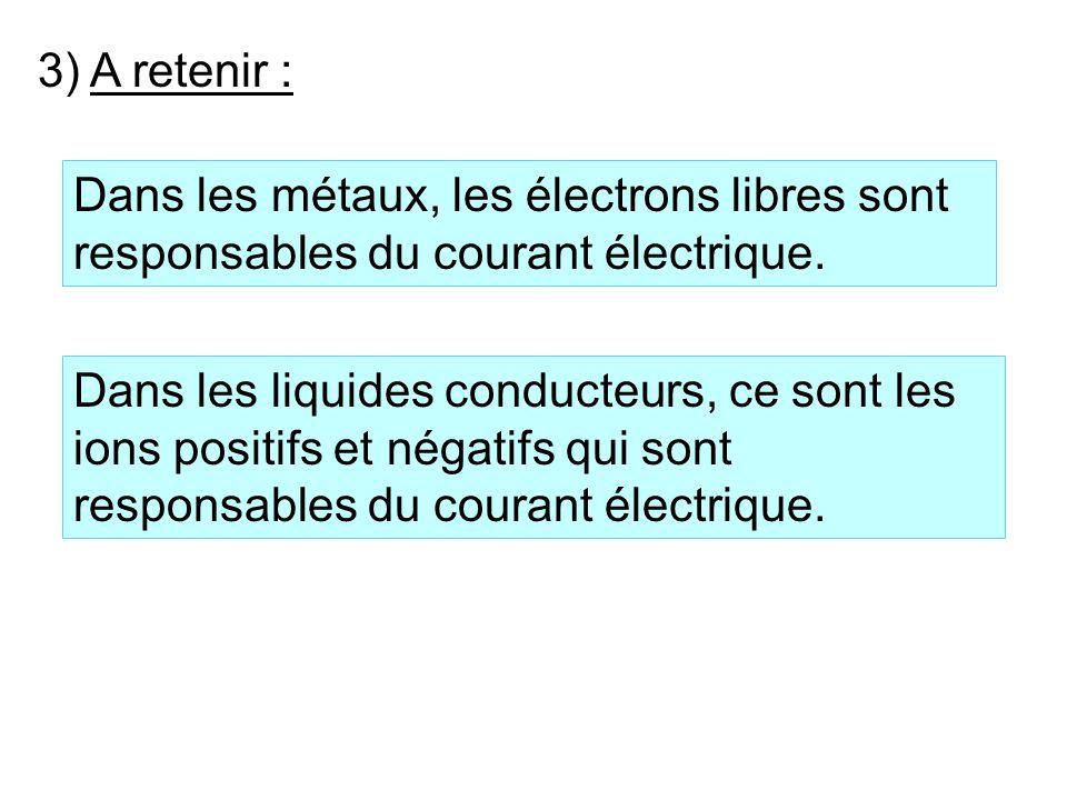 3) A retenir : Dans les métaux, les électrons libres sont responsables du courant électrique.