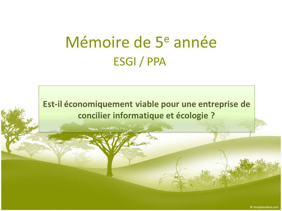 Mémoire de 5e année ESGI / PPA