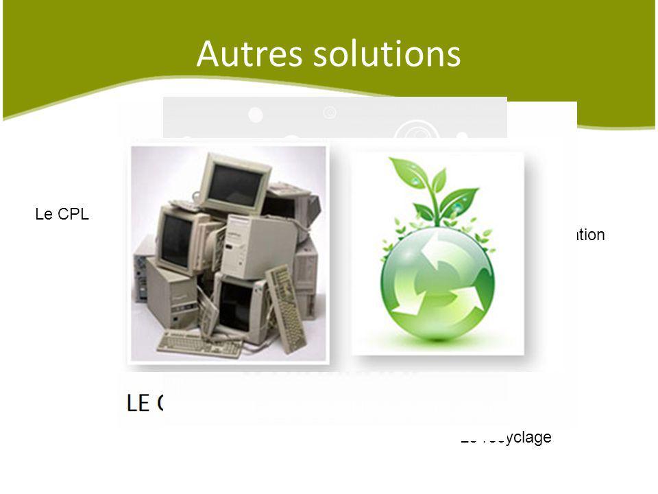 Autres solutions Le CPL Une sensibilisation Le recyclage