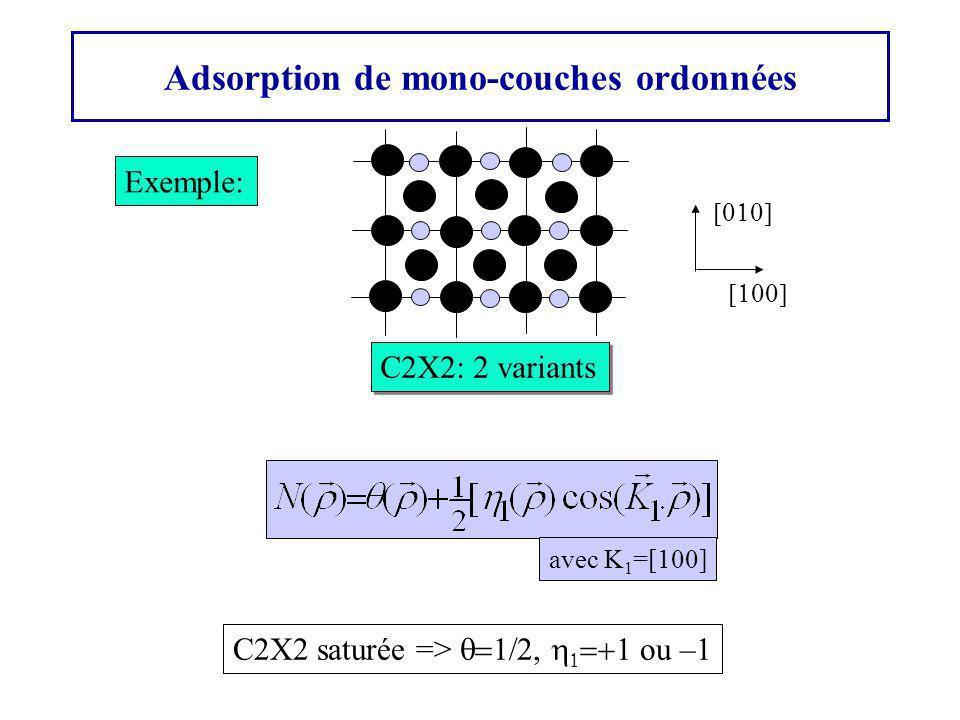 Adsorption de mono-couches ordonnées