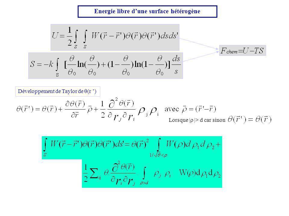 Energie libre d'une surface hétérogène