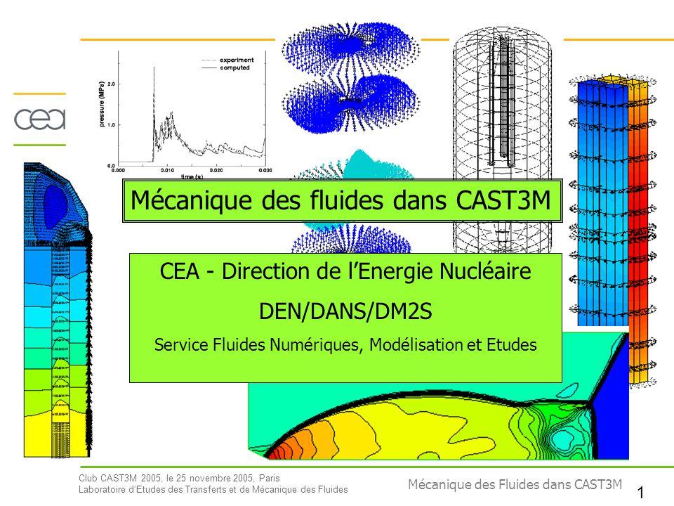Mécanique des fluides dans CAST3M