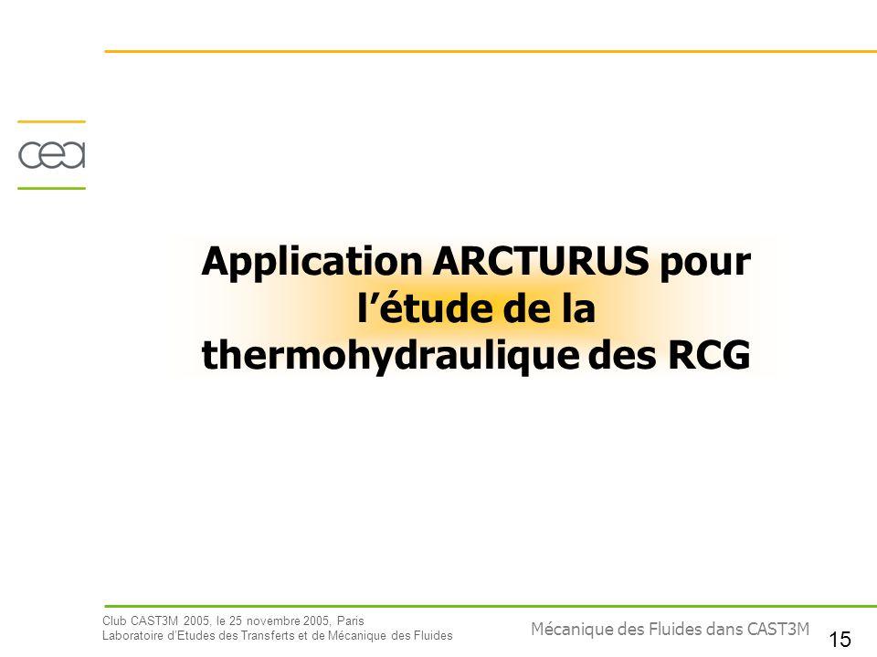 Application ARCTURUS pour l'étude de la thermohydraulique des RCG