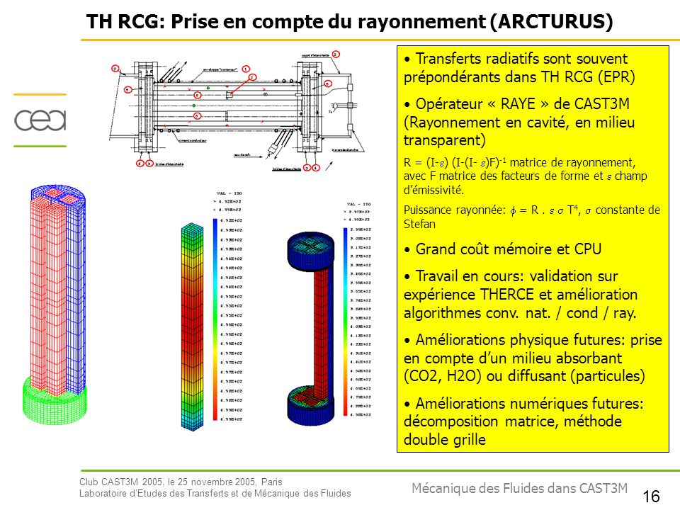 TH RCG: Prise en compte du rayonnement (ARCTURUS)