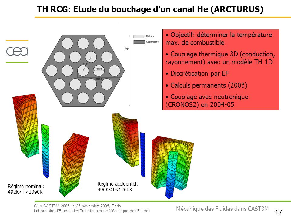 TH RCG: Etude du bouchage d'un canal He (ARCTURUS)