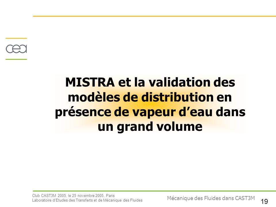 MISTRA et la validation des modèles de distribution en présence de vapeur d'eau dans un grand volume