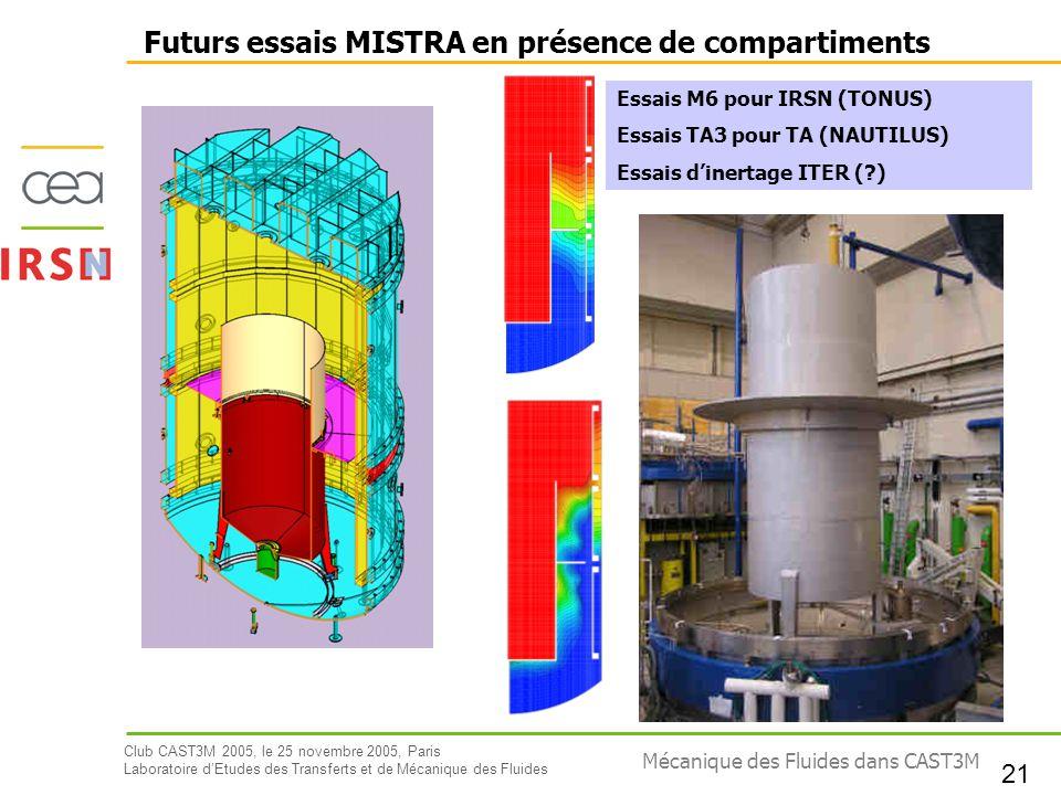 Futurs essais MISTRA en présence de compartiments