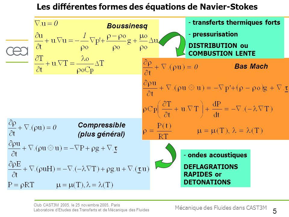 Les différentes formes des équations de Navier-Stokes