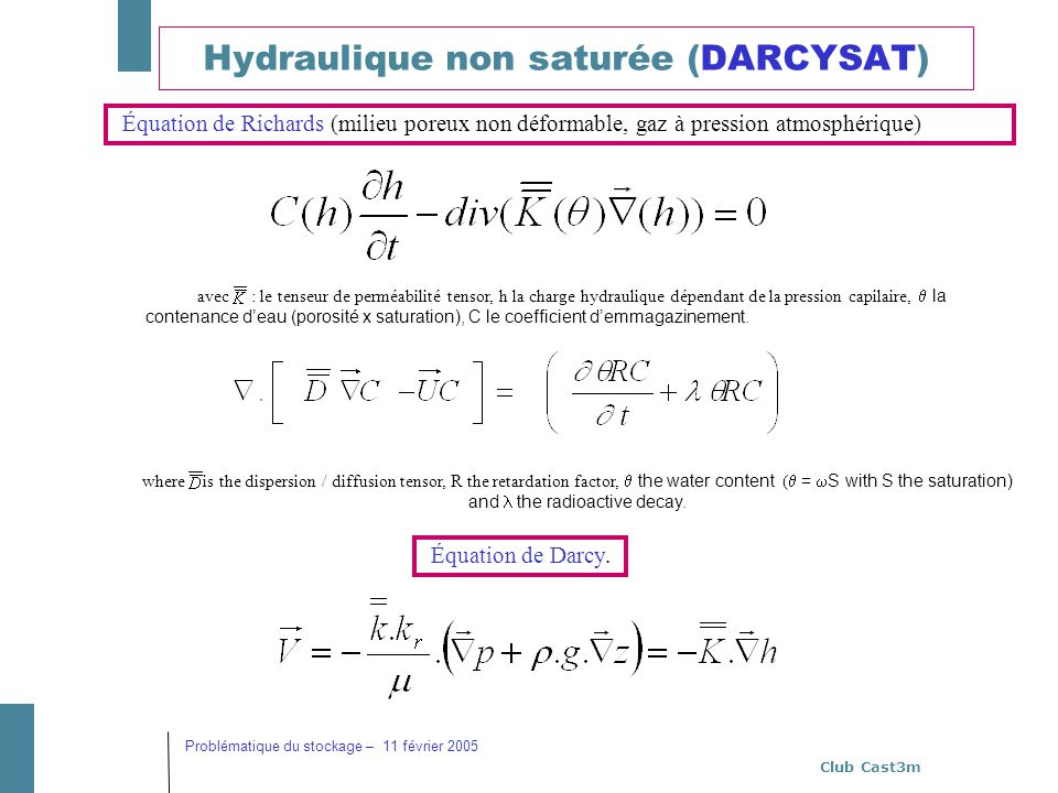 Hydraulique non saturée (DARCYSAT)