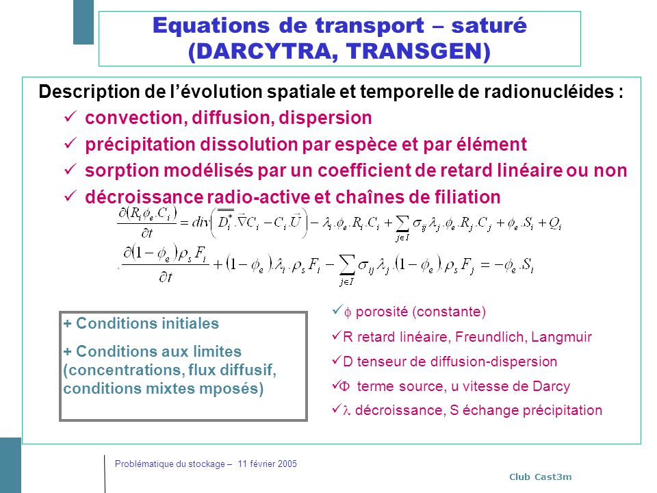 Equations de transport – saturé (DARCYTRA, TRANSGEN)