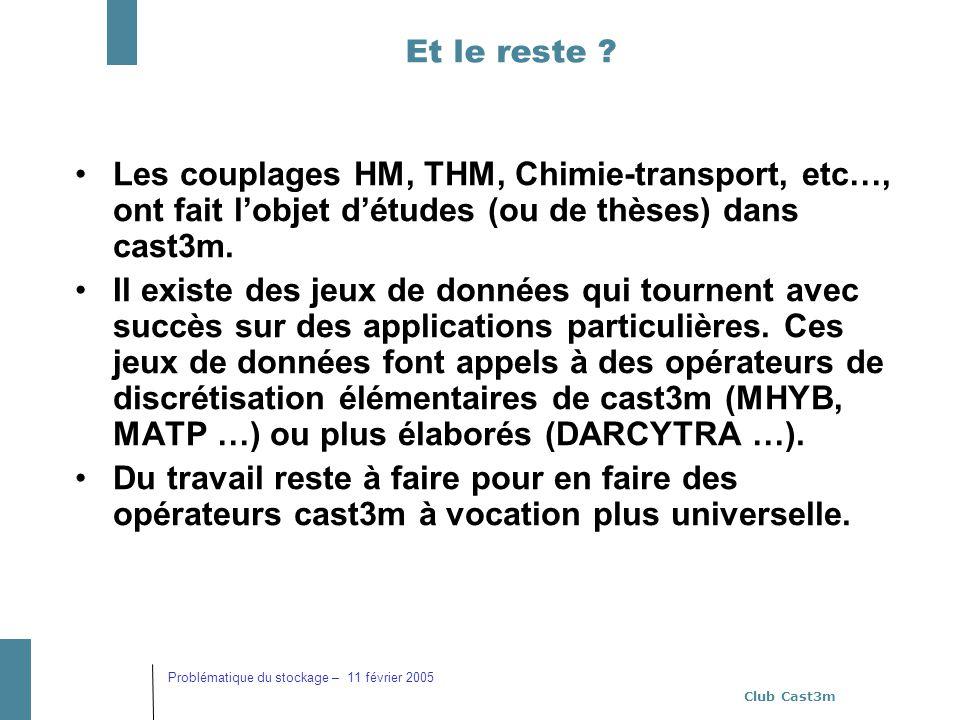 Et le reste Les couplages HM, THM, Chimie-transport, etc…, ont fait l'objet d'études (ou de thèses) dans cast3m.