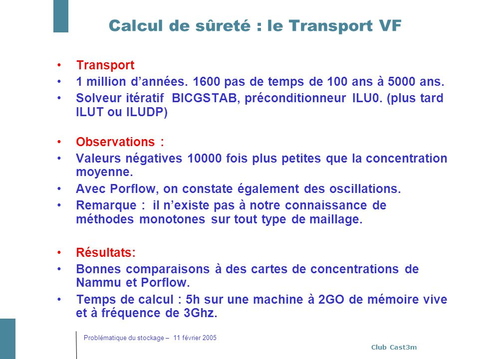 Calcul de sûreté : le Transport VF