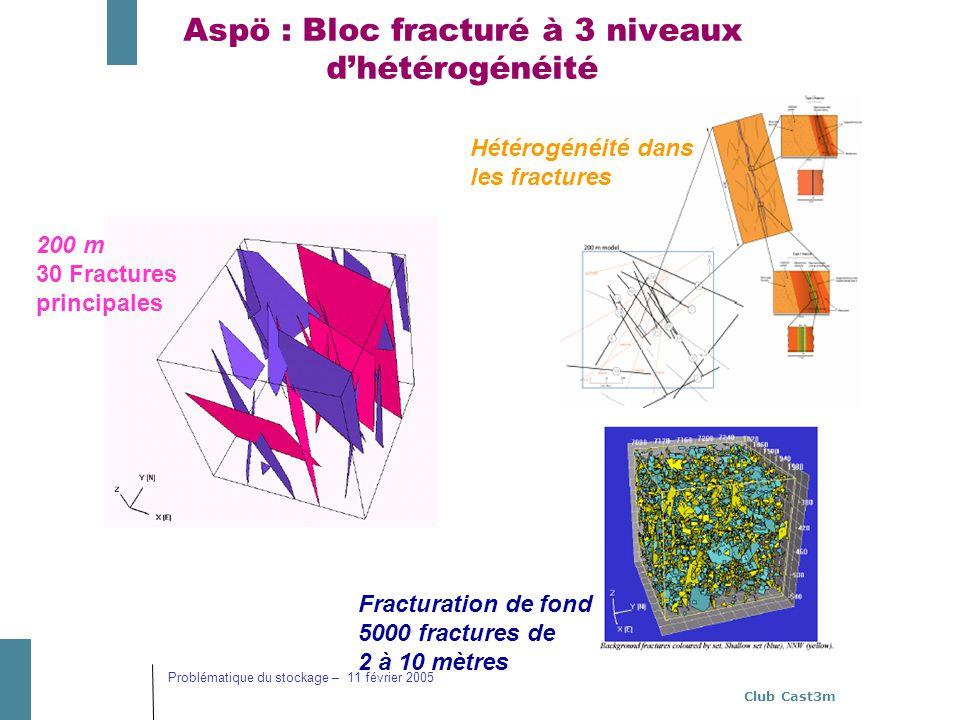 Aspö : Bloc fracturé à 3 niveaux d'hétérogénéité