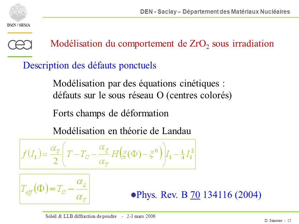 Modélisation du comportement de ZrO2 sous irradiation
