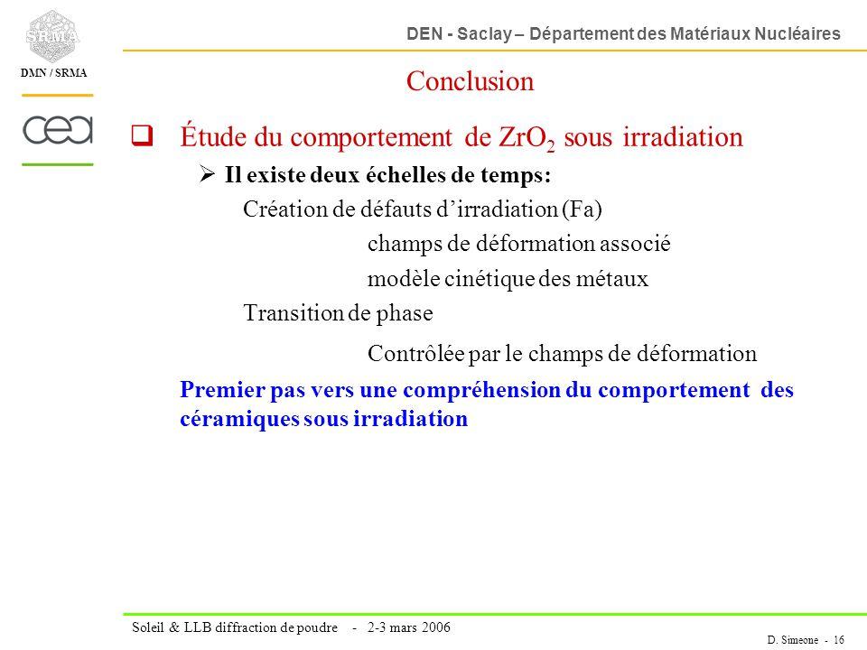 Étude du comportement de ZrO2 sous irradiation