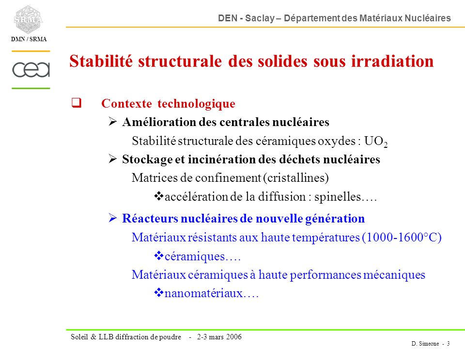 Stabilité structurale des solides sous irradiation