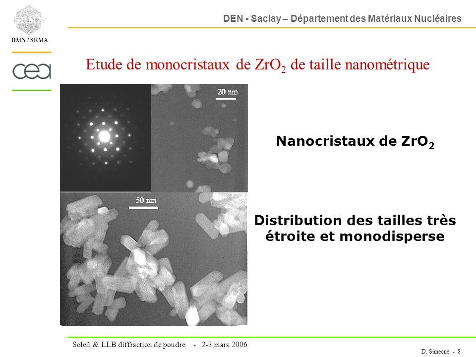 Etude de monocristaux de ZrO2 de taille nanométrique