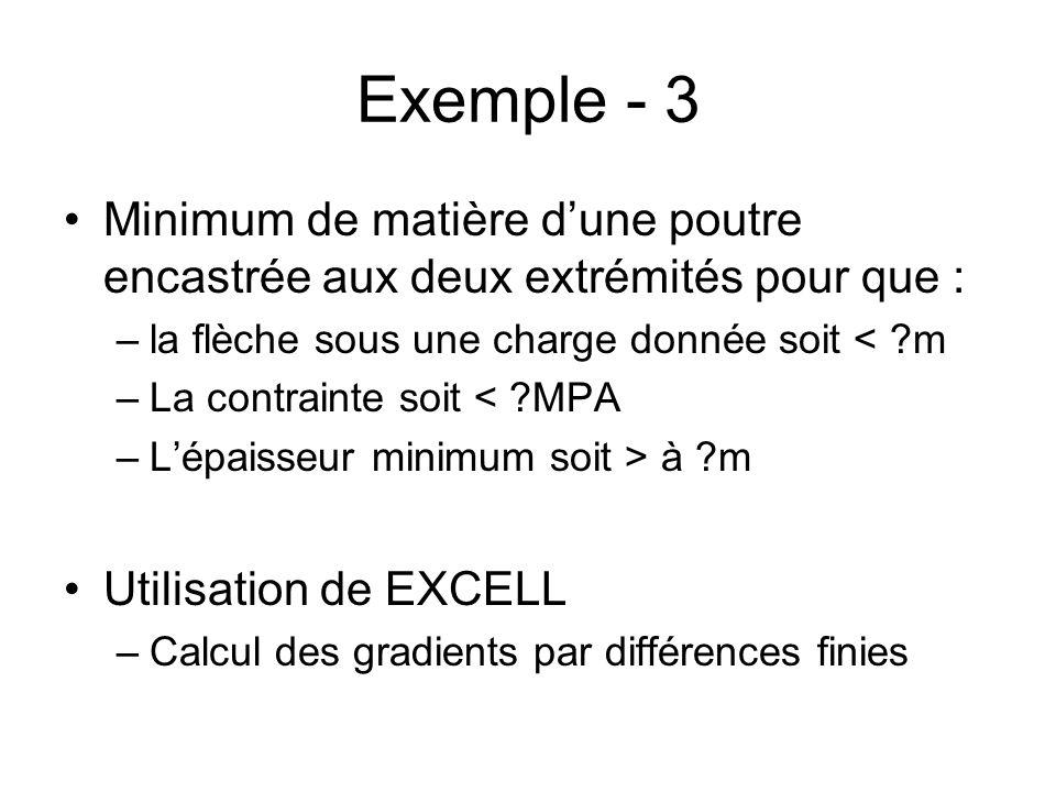 Exemple - 3 Minimum de matière d'une poutre encastrée aux deux extrémités pour que : la flèche sous une charge donnée soit < m.