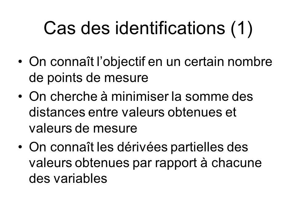 Cas des identifications (1)