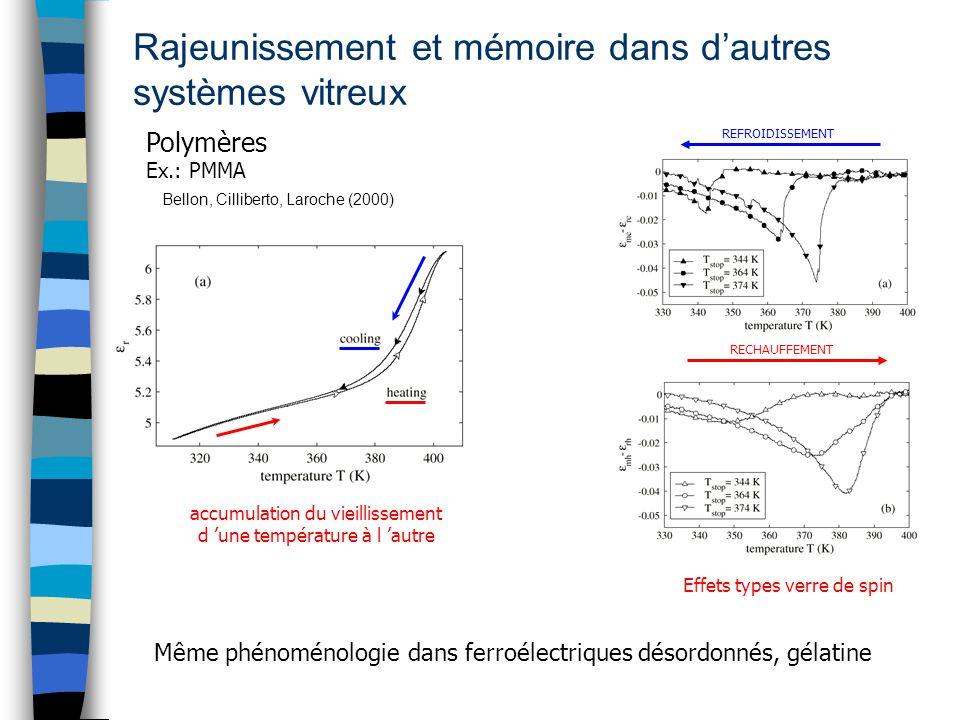 Rajeunissement et mémoire dans d'autres systèmes vitreux