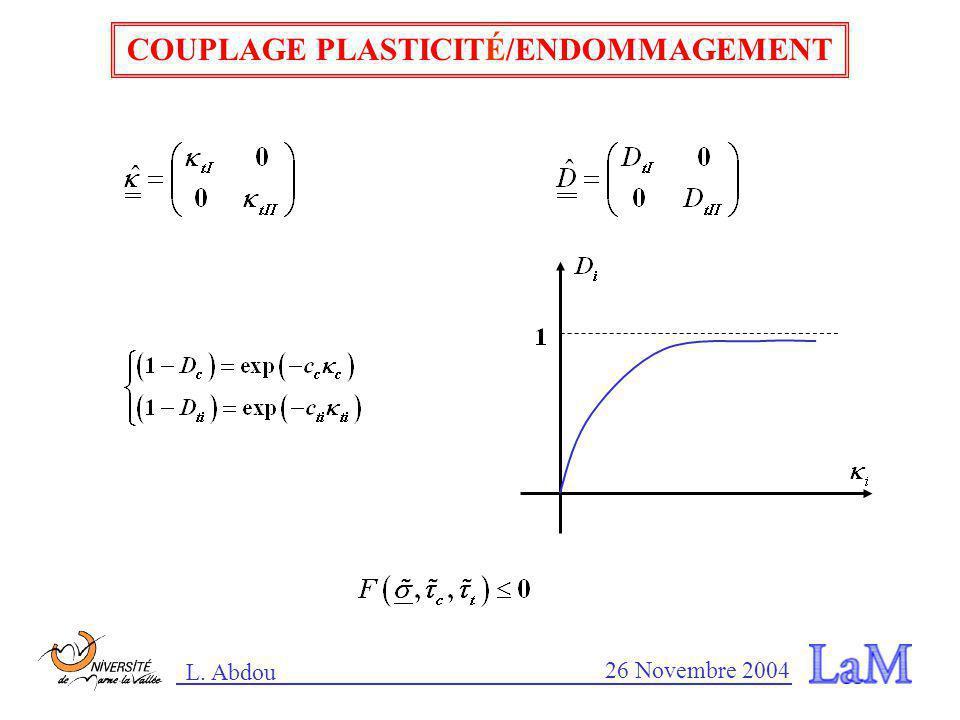 COUPLAGE PLASTICITÉ/ENDOMMAGEMENT