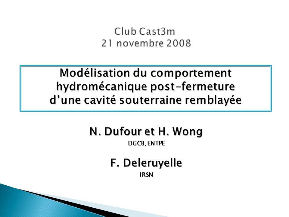 Club Cast3m 21 novembre 2008 Modélisation du comportement hydromécanique post-fermeture d'une cavité souterraine remblayée.