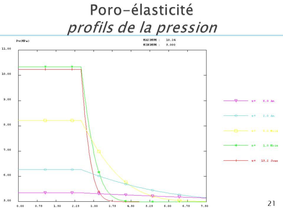 Poro-élasticité profils de la pression