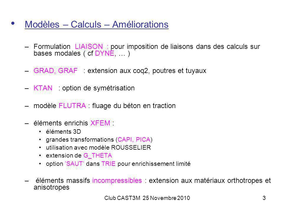 Modèles – Calculs – Améliorations