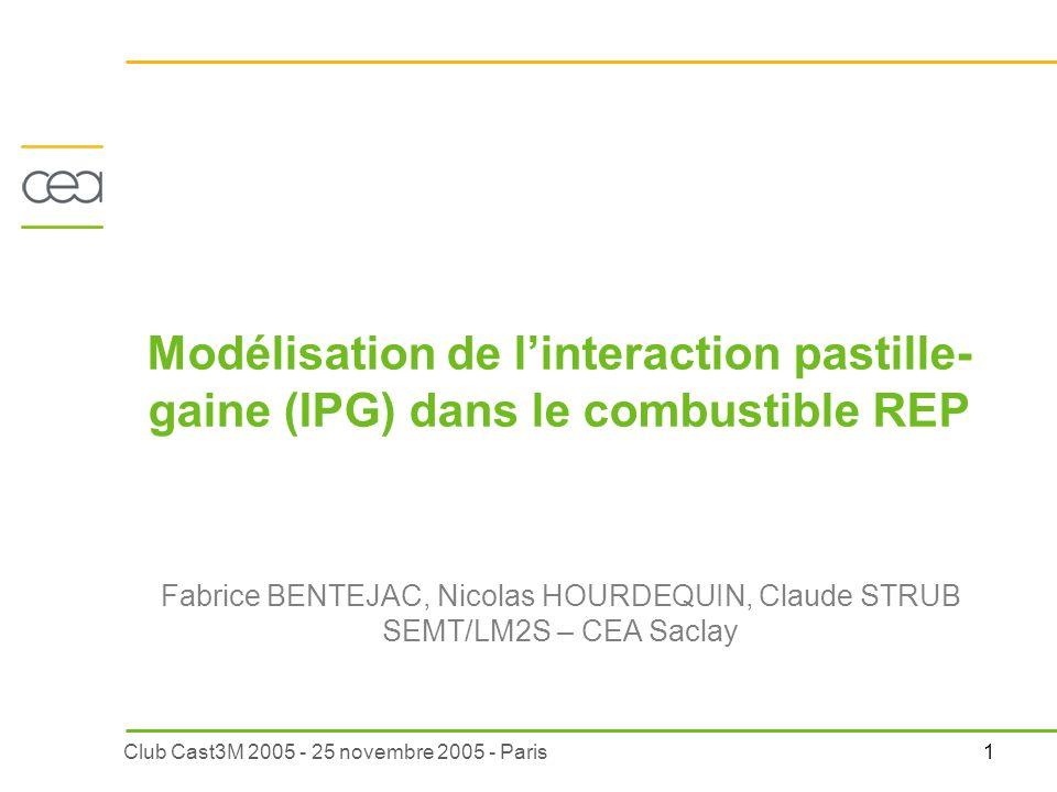 Modélisation de l'interaction pastille-gaine (IPG) dans le combustible REP