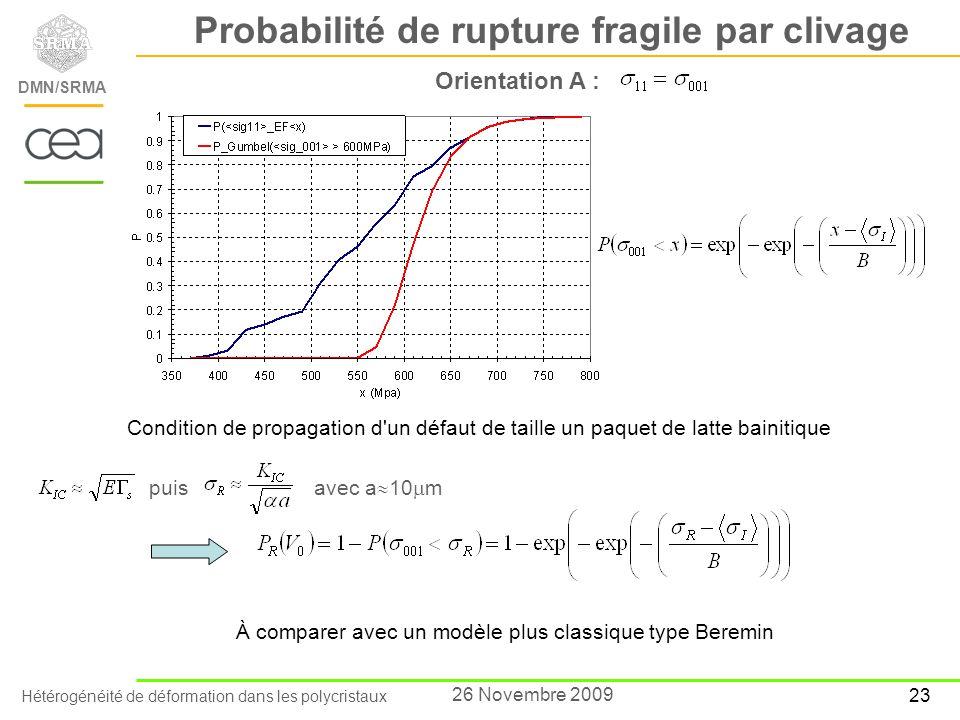 Probabilité de rupture fragile par clivage