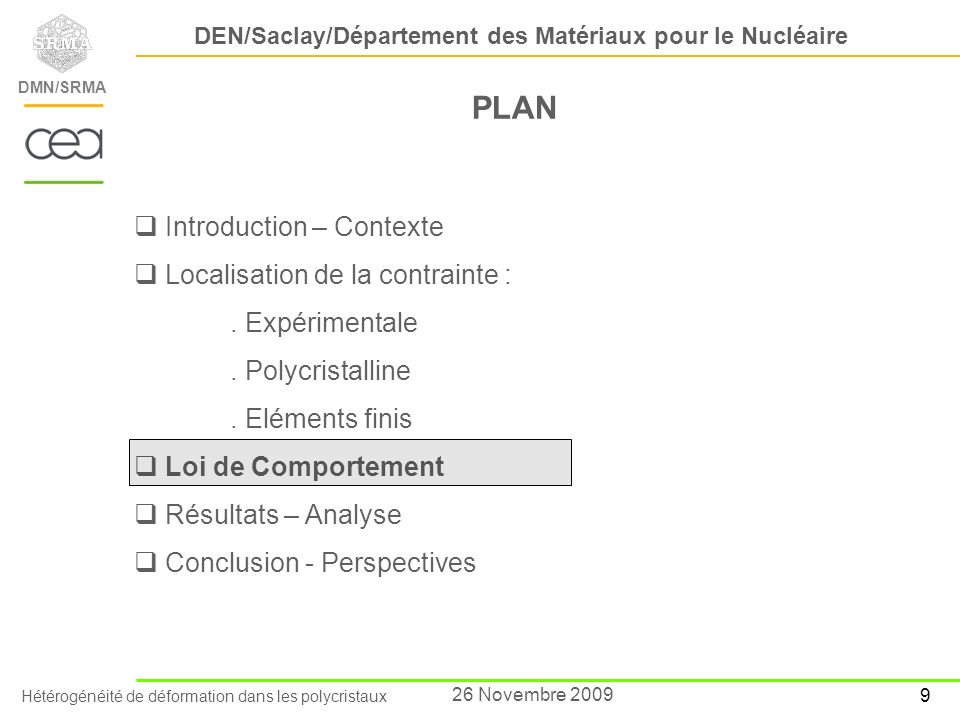 PLAN Introduction – Contexte Localisation de la contrainte :