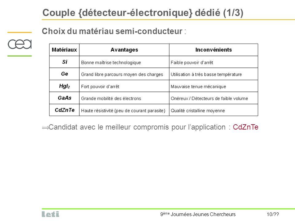 Couple {détecteur-électronique} dédié (1/3)