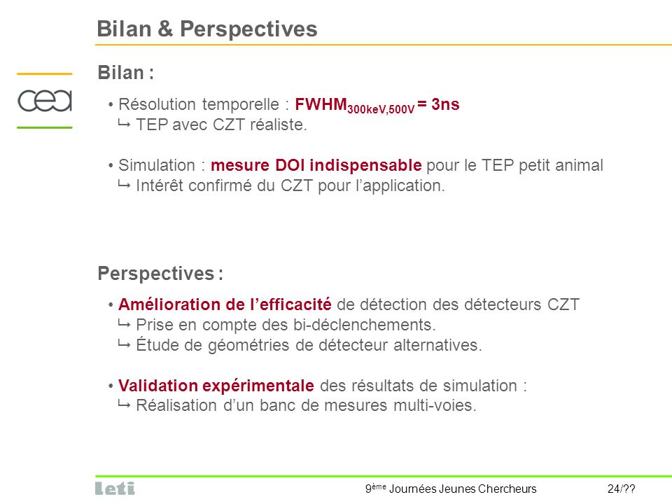 Bilan & Perspectives Bilan : Perspectives :
