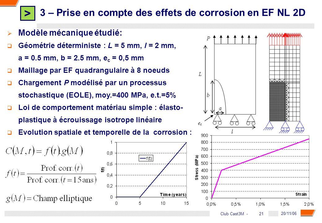 3 – Prise en compte des effets de corrosion en EF NL 2D
