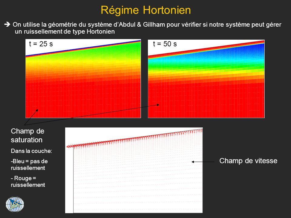 Régime Hortonien t = 25 s t = 50 s Champ de saturation