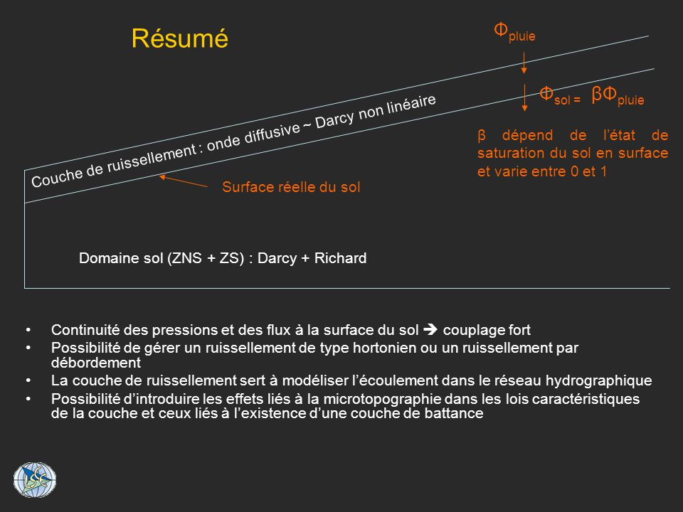 Domaine sol (ZNS + ZS) : Darcy + Richard
