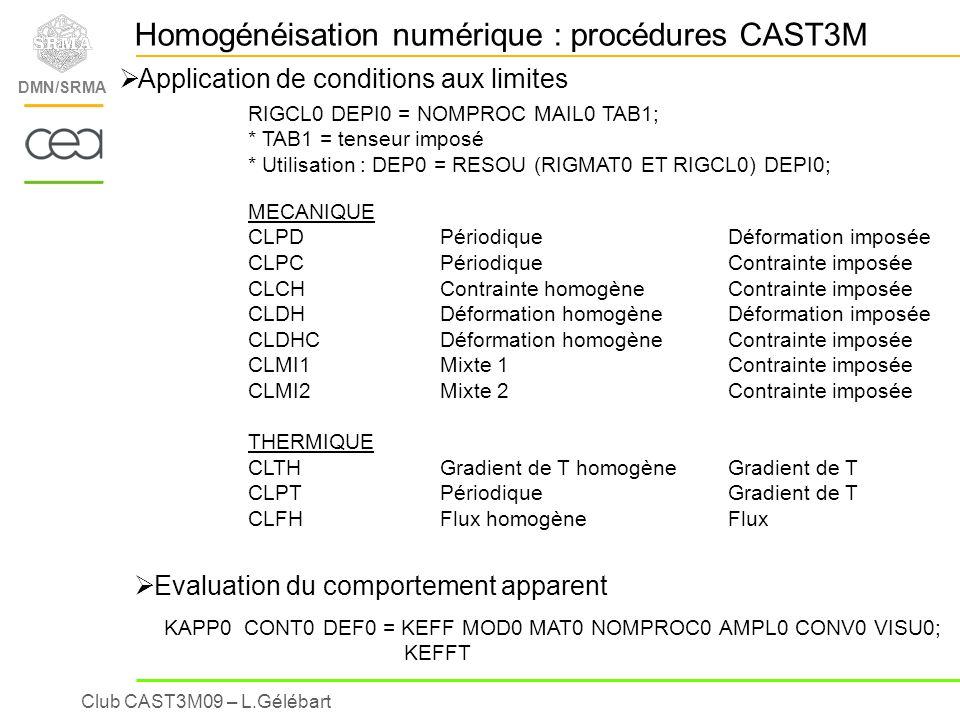 Homogénéisation numérique : procédures CAST3M